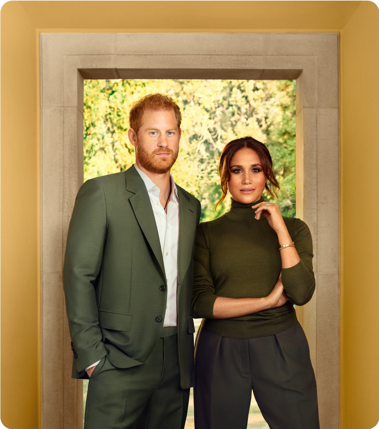 Photo of Meghan and Harry infront of a window