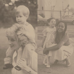 Two images: The left is Princess Diana with young Prince Harry on her shoulders. The right: Photo of young Meghan and her mother, Doria.