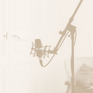Photo of a microphone on a mic stand.