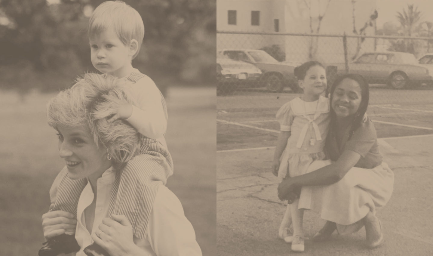 Two images: Left is Princess Diana with young Prince Harry on her shoulders. Right is a photo of young Meghan and her mother, Doria.