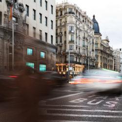 Blurred, long-exposure image of city traffic.