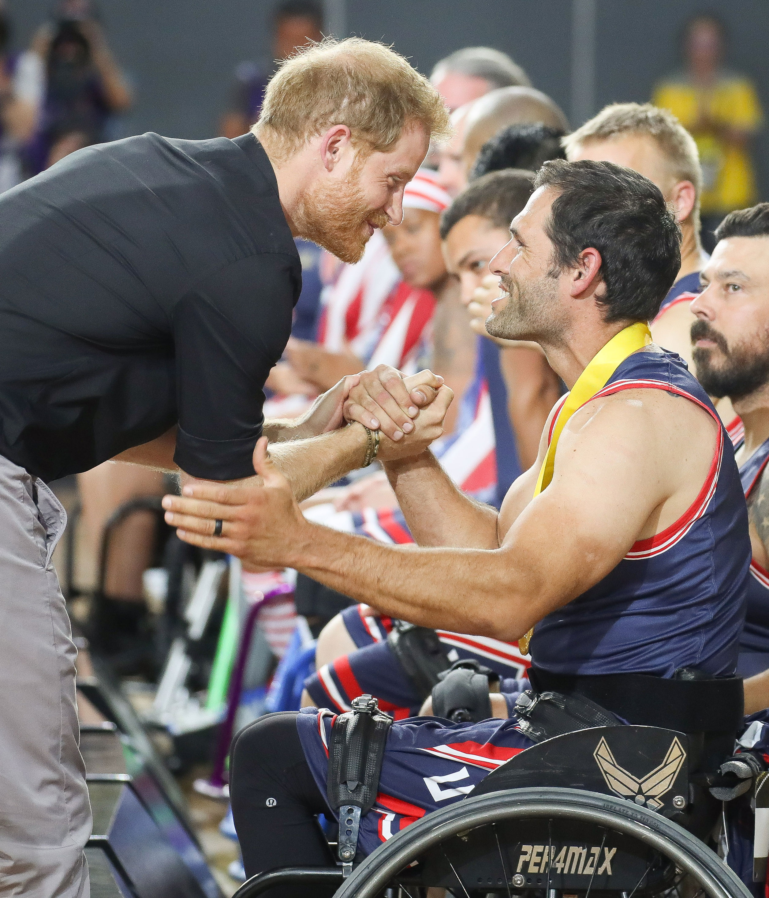 Prince Harry, Duke of Sussex congratulating the United States team in the Wheelchair Basketball after winning Gold in the finals during day eight of the Invictus Games Sydney 2018 at on October 27, 2018 in Sydney, Australia.