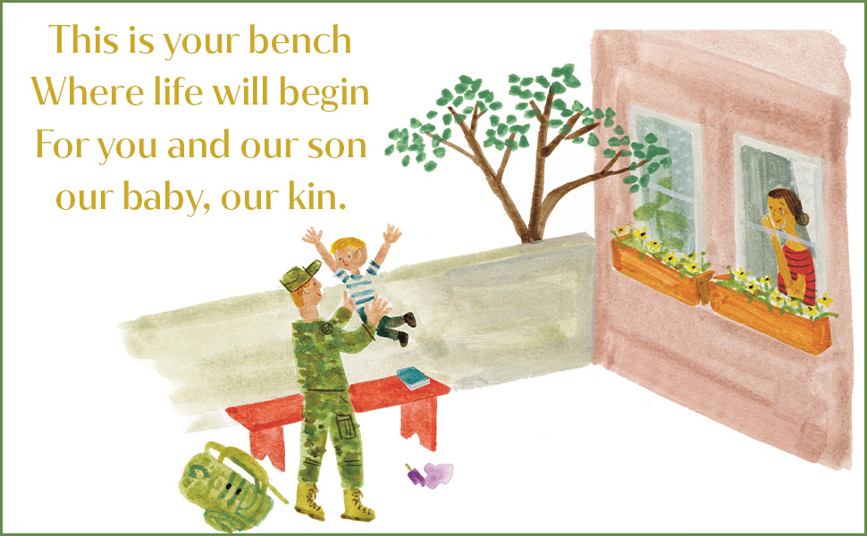 Image of a father, dressed in military fatigues, and son, who is jumping in the air next to a bench. Mother looks on from window. Text overlay reads