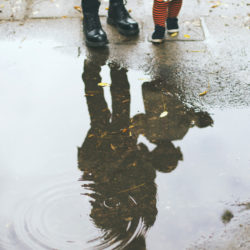 Mother and daughter puddle reflection