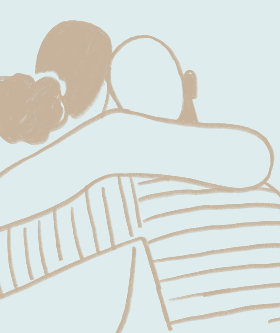 The back of two illustrated people who are hugging. The one on the left has black hair and a ponytail. The one on the right has light hair and is wearing a striped long-sleeve shirt