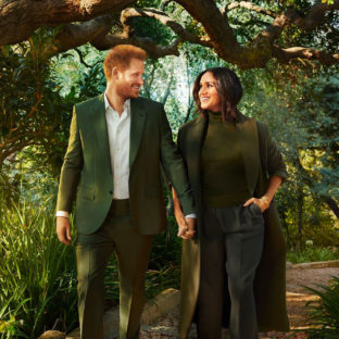 An image of The Duke and Duchess of Sussex walking