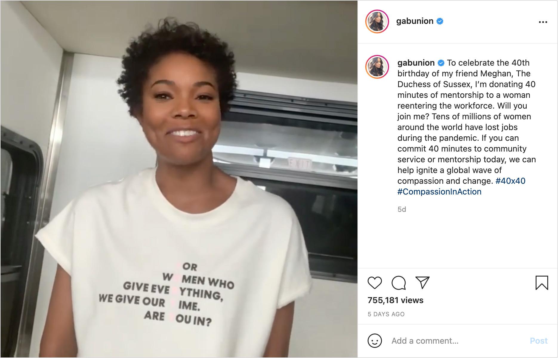 Gabrielle Union social media post