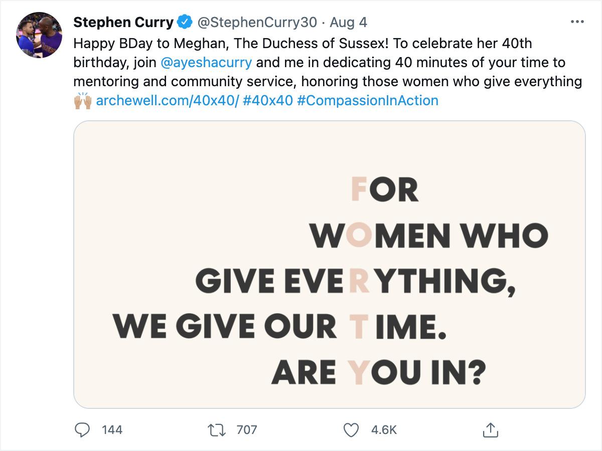 Stephen Curry social media post